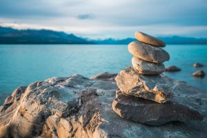 Zen stones on beach pukaki lake